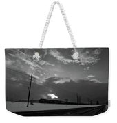 Morning Train In Black And White Weekender Tote Bag