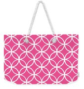 Moroccan Endless Circles I With Border In French Pink Weekender Tote Bag