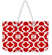 Moroccan Floral Inspired With Border In Red Weekender Tote Bag