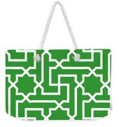 Moroccan Key With Border In Dublin Green Weekender Tote Bag