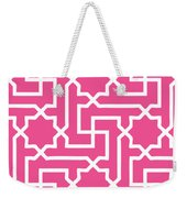 Moroccan Key With Border In French Pink Weekender Tote Bag
