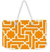 Moroccan Key With Border In Tangerine Weekender Tote Bag