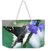 Moth On Blue Flower Weekender Tote Bag