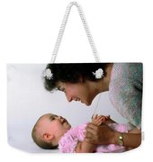 Mother And Baby Girl Smiling Weekender Tote Bag