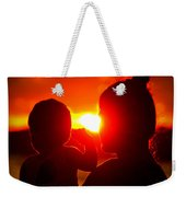Mother And Child On Sunset Weekender Tote Bag