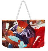Mother And Newborn Child Weekender Tote Bag by Kathy Braud