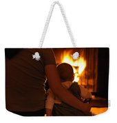 Mother And Son Sitting In Front Of A Firepalce Weekender Tote Bag