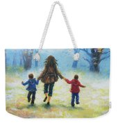 Mother And Two Sons Out For A Walk Weekender Tote Bag