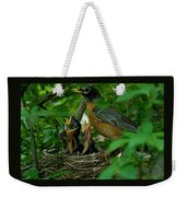 Mother Robin And Her Young Weekender Tote Bag