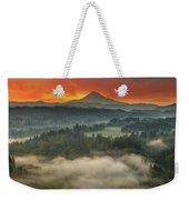 Mount Hood And Sandy River Valley Sunrise Weekender Tote Bag