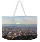 Mount Hood Over City Of Portland Oregon Weekender Tote Bag
