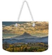 Mount Hood Over Farmland In Hood River In Fall Weekender Tote Bag