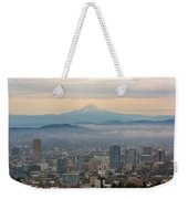 Mount Hood Over Portland Downtown Cityscape Weekender Tote Bag