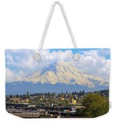 Mount Rainer Over Port Of Tacoma Weekender Tote Bag
