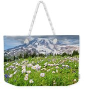 Mount Rainier And A Meadow Of Aster Weekender Tote Bag