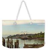 Mount Rainier From City Of Tacoma Washington Waterfront Weekender Tote Bag