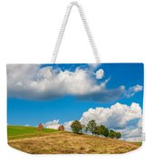 Mountain Landscape With Haystacks And Trees On Top Of Hill Weekender Tote Bag