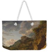 Mountain Landscape With River And Wagon Weekender Tote Bag
