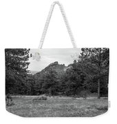 Mountain Peak Through The Trees In Black And White Weekender Tote Bag