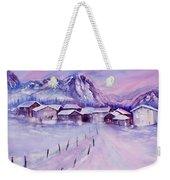 Mountain Village In Snow Weekender Tote Bag
