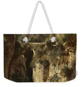 Mountainous Landscape With Waterfall Weekender Tote Bag