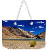 Mountains And Green Vegetation Chagor Tso - Lake Leh Ladakh Jammu Kashmir India Weekender Tote Bag