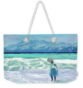 Mountains Ocean With Little Girl  Weekender Tote Bag