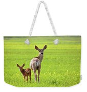 Mule Deer Doe And Fawn Looking Back Over Their Shoulders Weekender Tote Bag