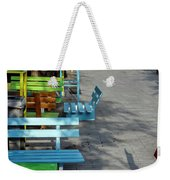Multi-colored Benches On The Pedestrian Zone Weekender Tote Bag