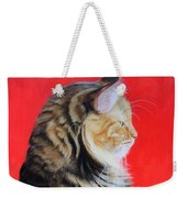 Multicolored Cat In Red Background  Weekender Tote Bag
