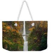 Multnomah Falls In Autumn Colors -panorama Weekender Tote Bag