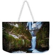 Multnomah Falls With Snow Weekender Tote Bag