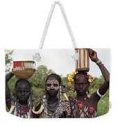 Mursi Tribesmen In Ethiopia Weekender Tote Bag