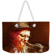 Music - Jazz Sax Player With A Hat Weekender Tote Bag