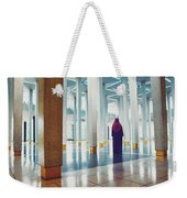 Muslim Woman Dressed In The Traditional Islam Clothing Standing Inside National Mosque In Malaysia Weekender Tote Bag