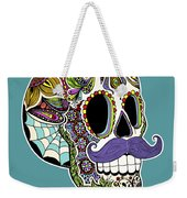 Mustache Sugar Skull Weekender Tote Bag by Tammy Wetzel