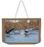 Mute Swan Chasing Canada Goose I Weekender Tote Bag