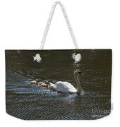 Mute Swan With Three Cygnets Following Weekender Tote Bag
