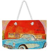 My Blue Corvette At The Orange Julep Weekender Tote Bag