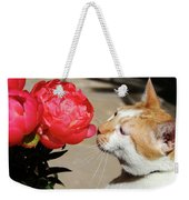 My Kitty In Love With A Peony Weekender Tote Bag