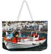 Mykonos Greece Fishing Boats Weekender Tote Bag