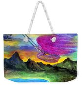 Mzia On Swings. Beauty Girl With Fuchsia Hair Weekender Tote Bag