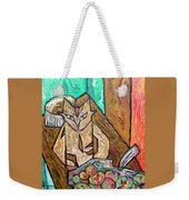 Naive Cat With Apples Weekender Tote Bag