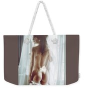 Naked Back Of A Beautiful Half Nude Woman Standing By The Window Weekender Tote Bag