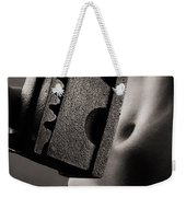 Naked Woman With An Old Heavy Iron Weekender Tote Bag