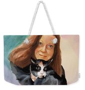 Nandi And Her Cat Weekender Tote Bag by Charles Hetenyi