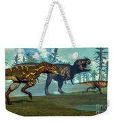 Nanotyrannus Hunting A Small Weekender Tote Bag