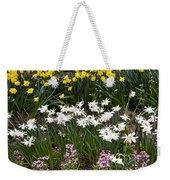 Narcissus And Daffodils In A Spring Flowerbed Weekender Tote Bag