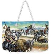 Native American Indians Killing American Bison Weekender Tote Bag
