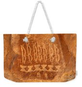 Native American Petroglyph On Orange Sandstone Weekender Tote Bag